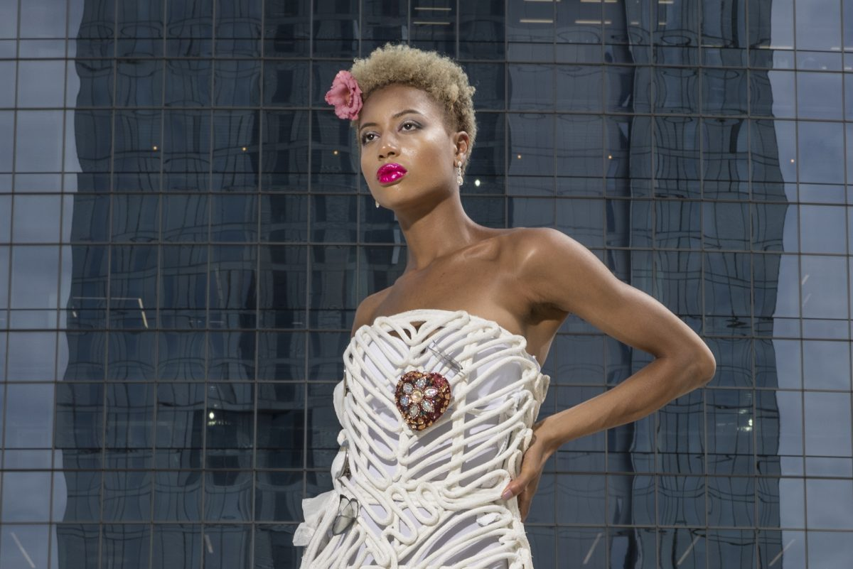 The Mosaic Dress by Conrad Booker, price available upon request, bookerconrad@gmail.com; white-gold earrings with yellow diamonds, Bernie Robbins Collection, price available upon request, at Bernie Robbins. MICHAEL BRYANT / Staff Photographer