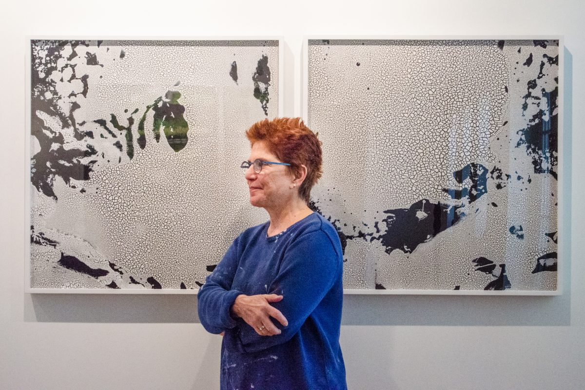 Portrait of Diane Burko, who explores the intersection between art and the natural environment, in her studio.
