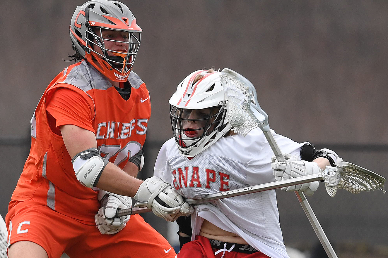 Lenape´s Matt Ingersoll (right) tried to get past Cherokee´s Dylan O´Mara. Ingersoll scored three goals for the Indians.