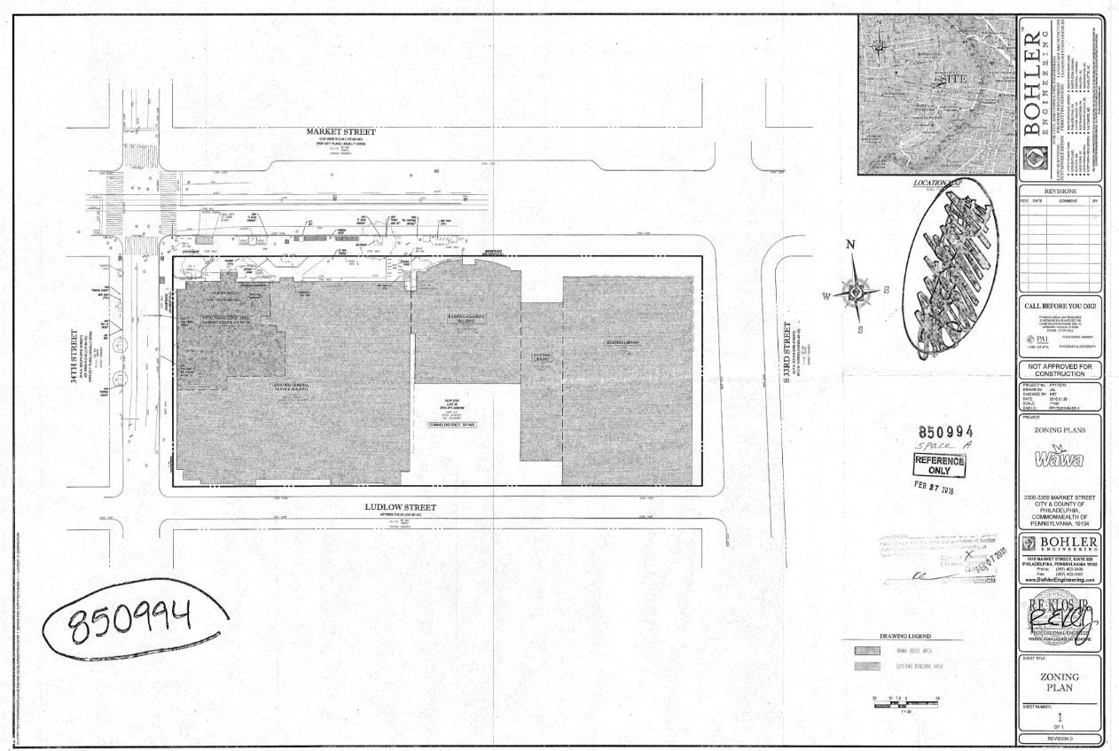 A map of the proposed Wawa at 34th and Market streets on Drexel University´s campus.