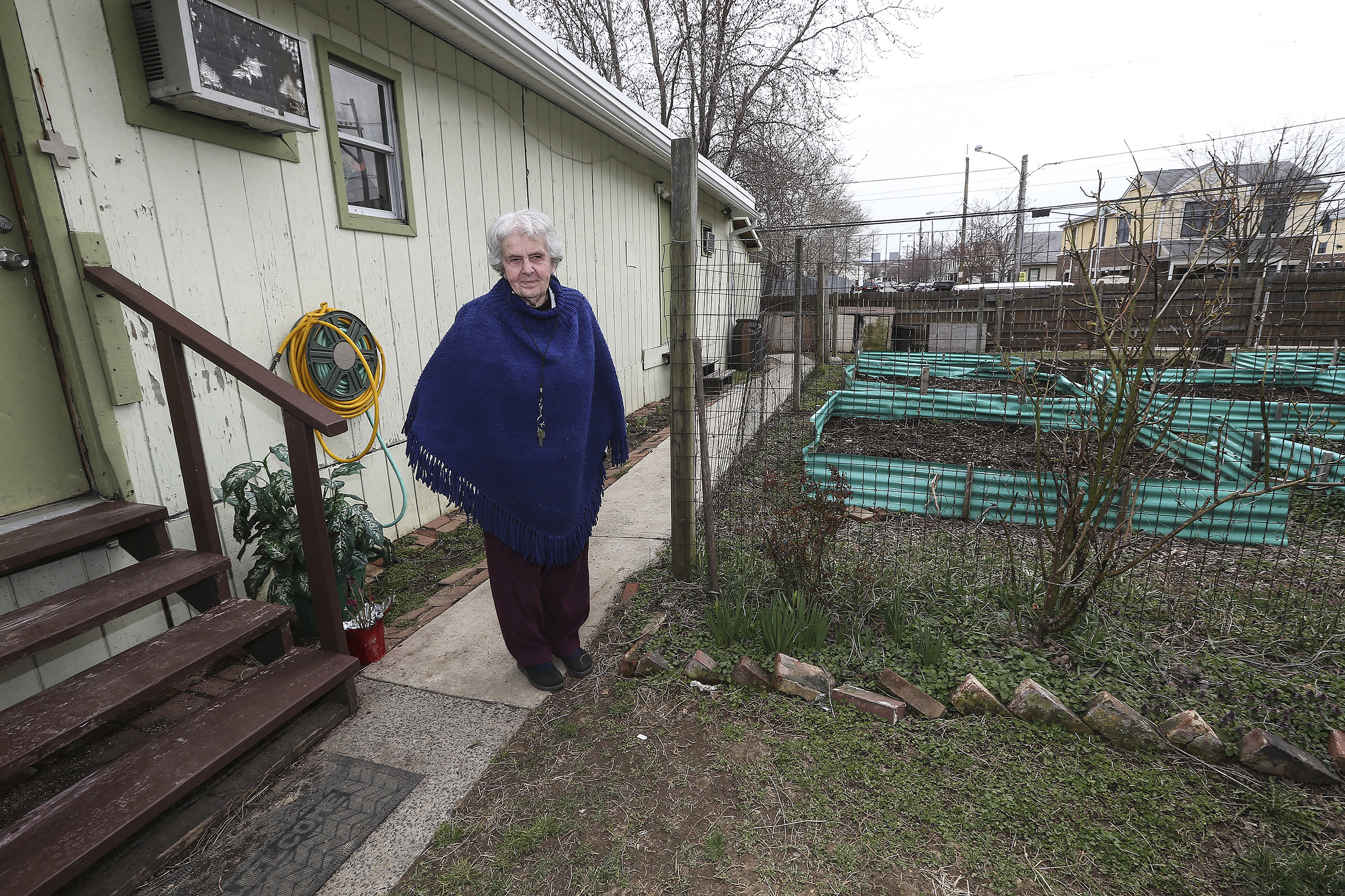 Sister Margaret McKenna at in the New Jerusalem Laura recovery Center Garden on Norris Street in North Philadelphia. Tuesday, March 27, 2018. STEVEN M. FALK / Staff Photographer