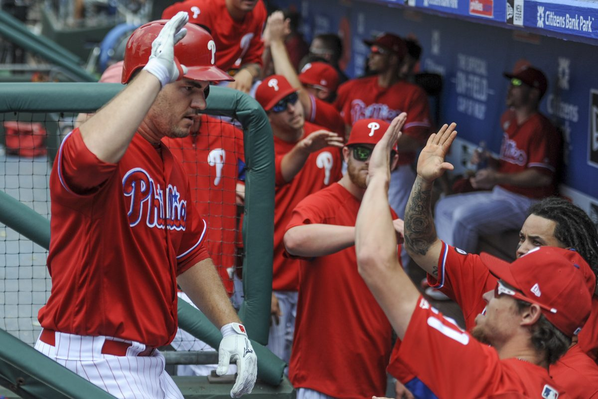 Phillies first baseman Tommy Joseph (left) gets congratulated by coaches and teammates after hitting a solo homerun in the 5th inning in the game against the St. Louis Cardinals June 22, 2017 at Citizens Bank Park. Joseph was the hitting star of the game driving in 4 runs as the Phillies won 5-1. CLEM MURRAY / Staff Photographer
