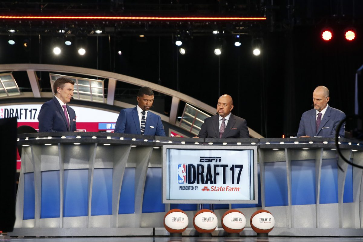 ESPN 2017 NBA draft host Rece Davis (left) and analysts (from left to right) Jalen Rose, Michael Wilbon and Steve Smith on the network's set at the Barclays Center in Brooklyn, N.Y.