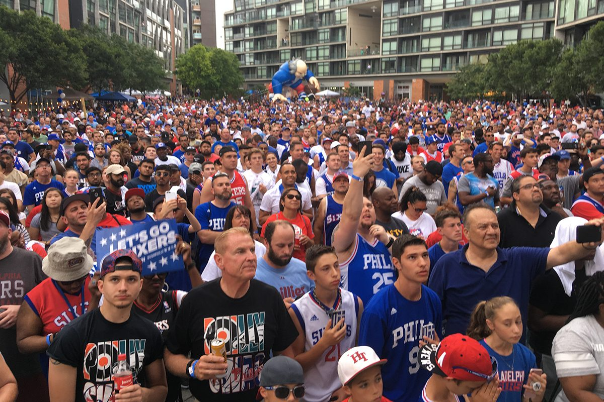 Thousands of Philadelphia 76ers fans packed the Piazza at Schmidt's Commons for a party to watch the NBA draft. The Sixers took Washington guard Markelle Fultz with the No. 1 overall pick.