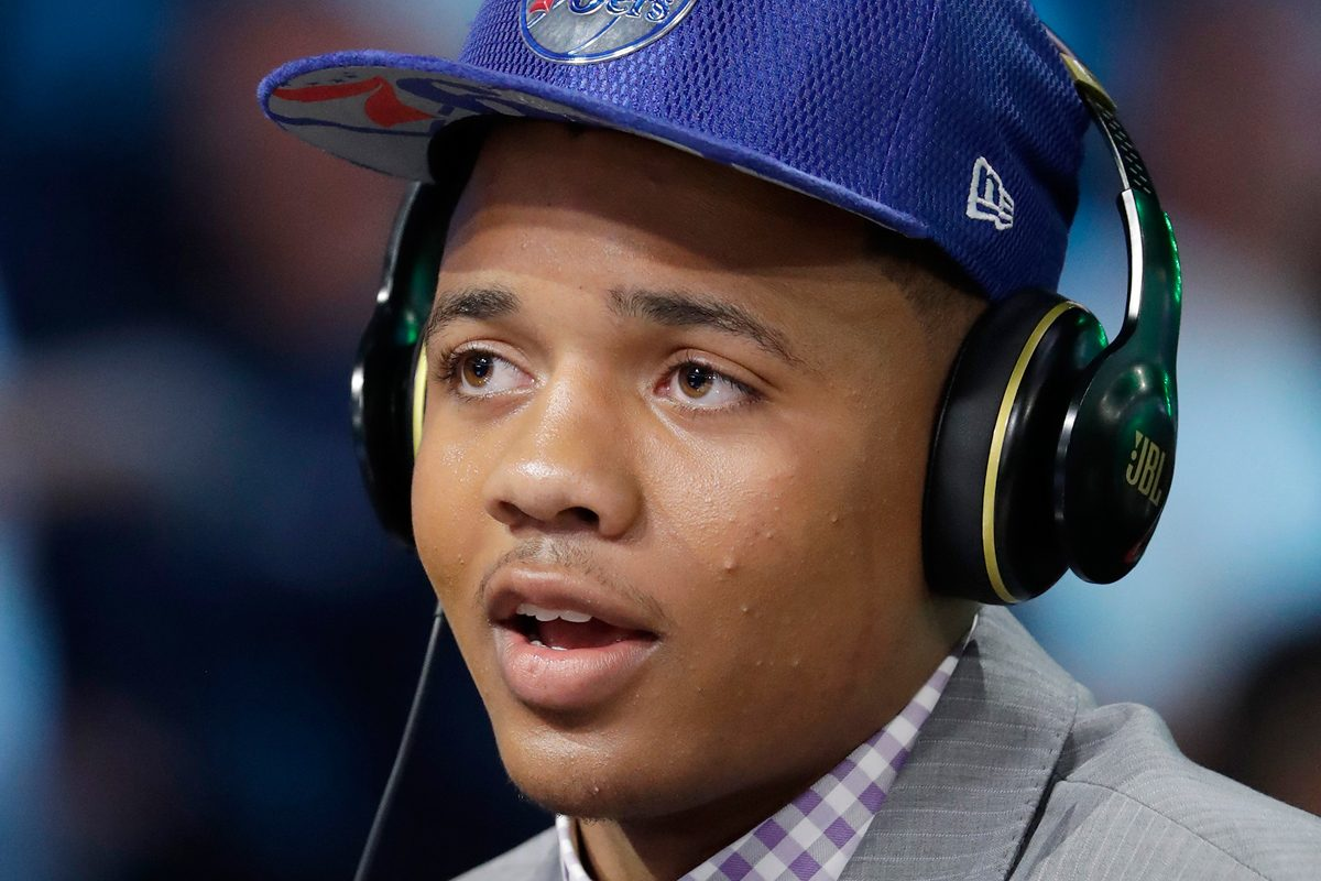 Markelle Fultz meets with the media after getting selected first overall by the 76ers on Thursday.