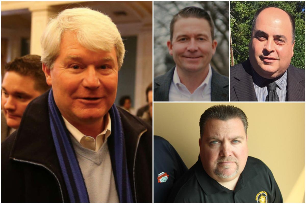 Left to Right: Local 98 boss John Dougherty, state representative candidates Jonathan Rowan and Nick DiDonato. Bottom: FOP Lodge No. 5 president John McNesby.