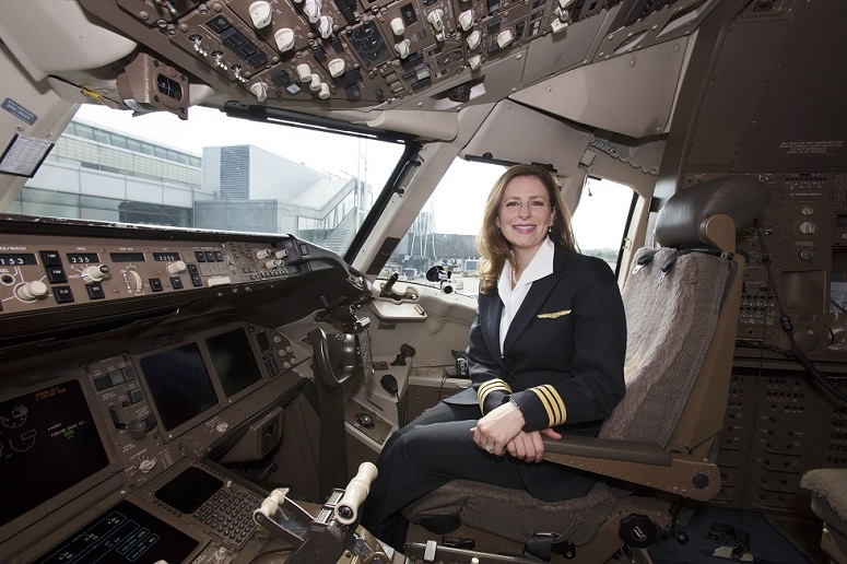 United flight manager Cassie Mastriana is among a small percentage of pilots who are women.