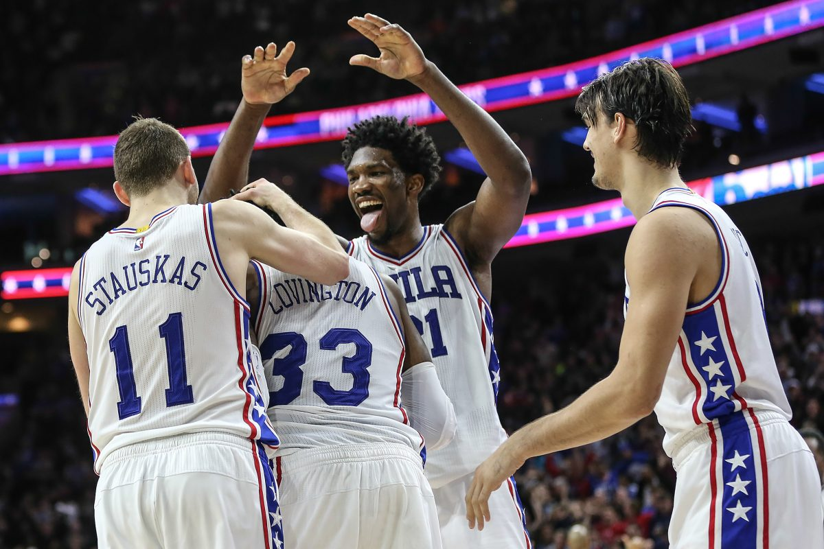 Sixers Robert Covington (33), Nik Stauskas (11), Joel Embiid (21) and Dario Saric celebrate after a go-ahead basket last season against Minnesota. There likely will be more celebrations this coming season.