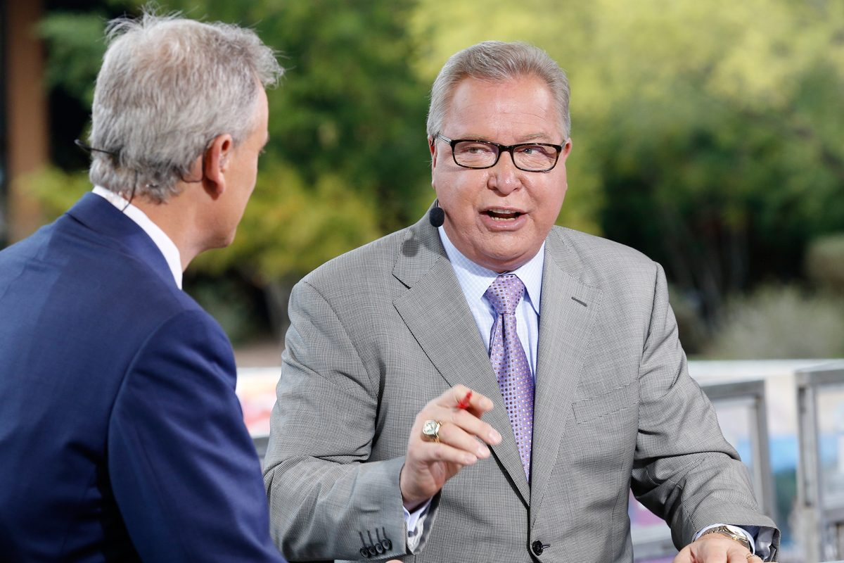 ESPN analyst Ron Jaworski speaks to Trey Wingo on the set of 'NFL Matchup.' Jaworski is unsure about his future with ESPN.