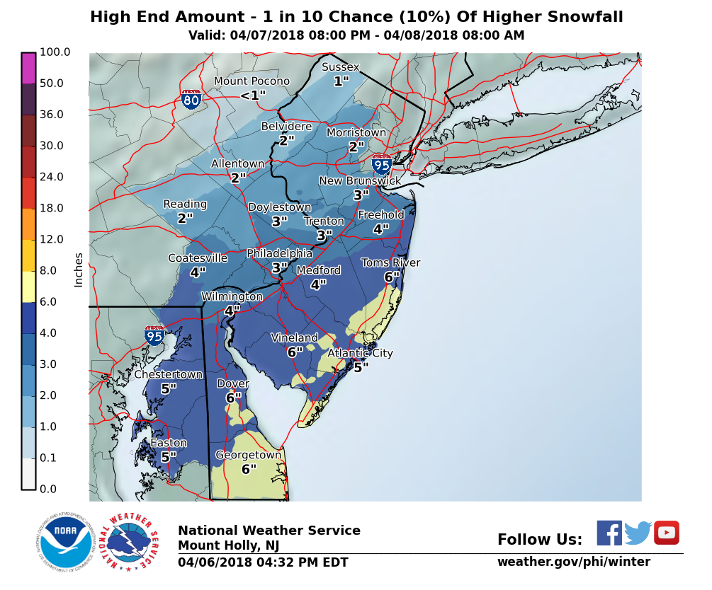 The updated maximum possible amount of snow for the region.