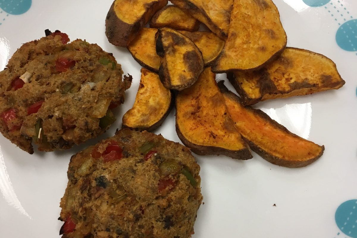 Salmon cakes and sweet potato fries as prepared by the students at Feltonville School of the Arts in Kensington.