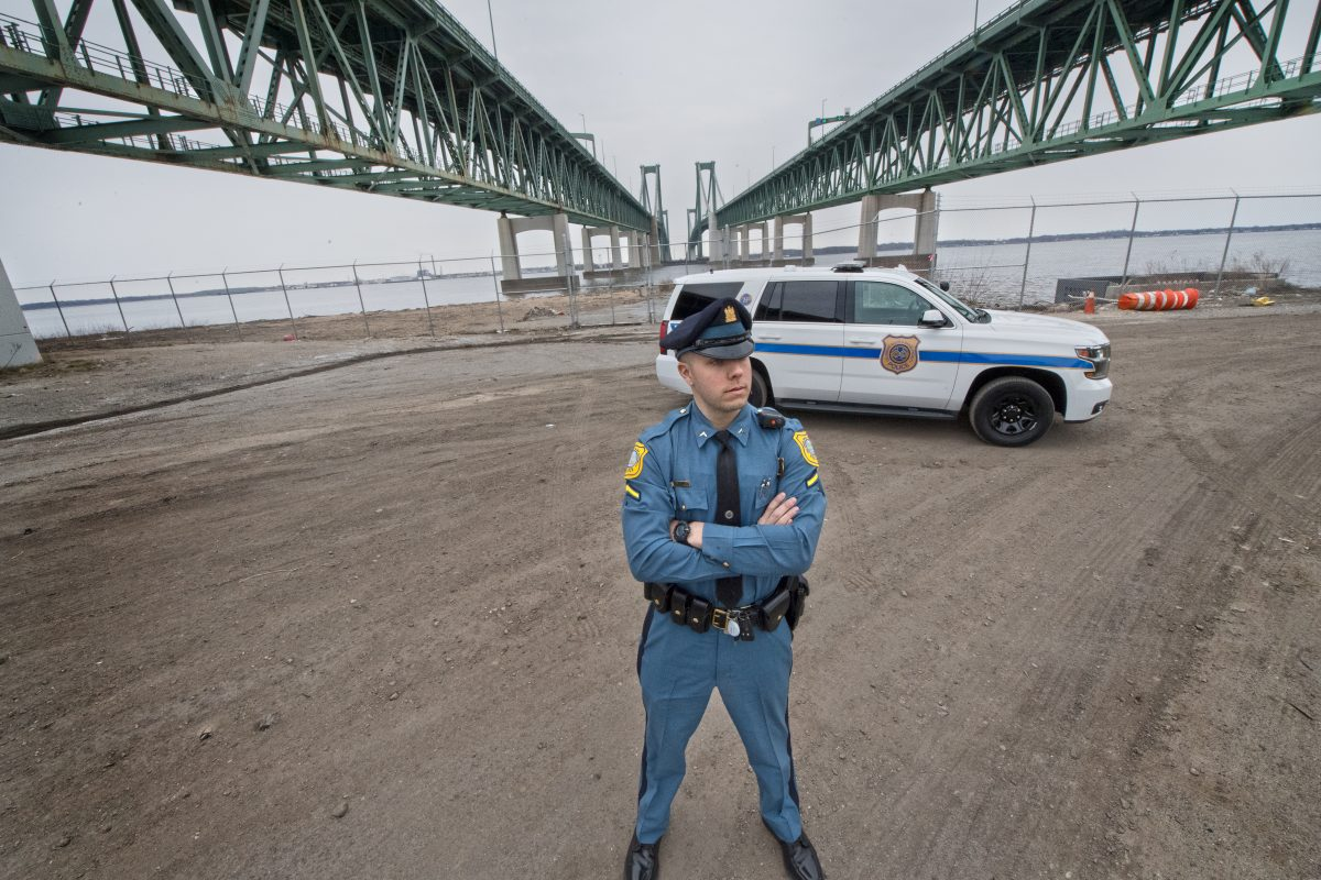 S.W. Burkhead, Delaware River and Bay Authority Police, patrols the Delaware Memorial Bridge in New Castle, Del. Hundreds of motorists in our area suffer from an unusual yet debilitating fear of driving over bridges. Luckily, help is just a dispatch call away. People crossing the Delaware Memorial Bridge can take advantage of a 70-year-old Acrophobia Escorts program, which calls for patrolman to drive a scared driver´s car over the bridge for them.