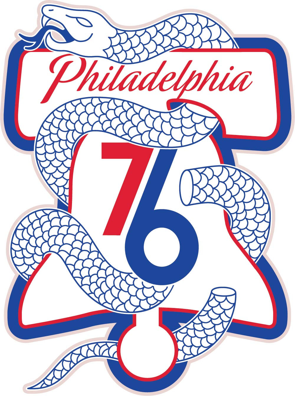 a liberty bell and a severed snake 76ers marketing looks to score a rh chatsports com