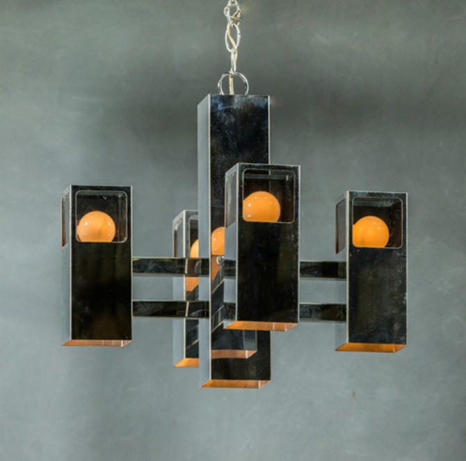 """Pictured, a cubic chandelier from Provenance, found in ATTIC´s """"lamps and lighting"""" section."""