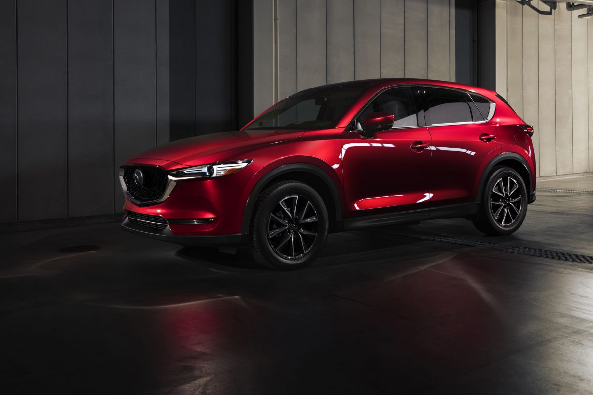 I couldn't help but see an old-style wagon — as in covered wagon — when looking at the giant wheels of the 2018 Mazda CX-5.