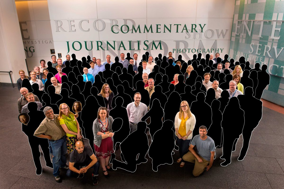 In a special editorial section decrying newsroom cuts, the Denver Post offered an illustration showing how few of the staff from a 2013 photo remain at the paper today.
