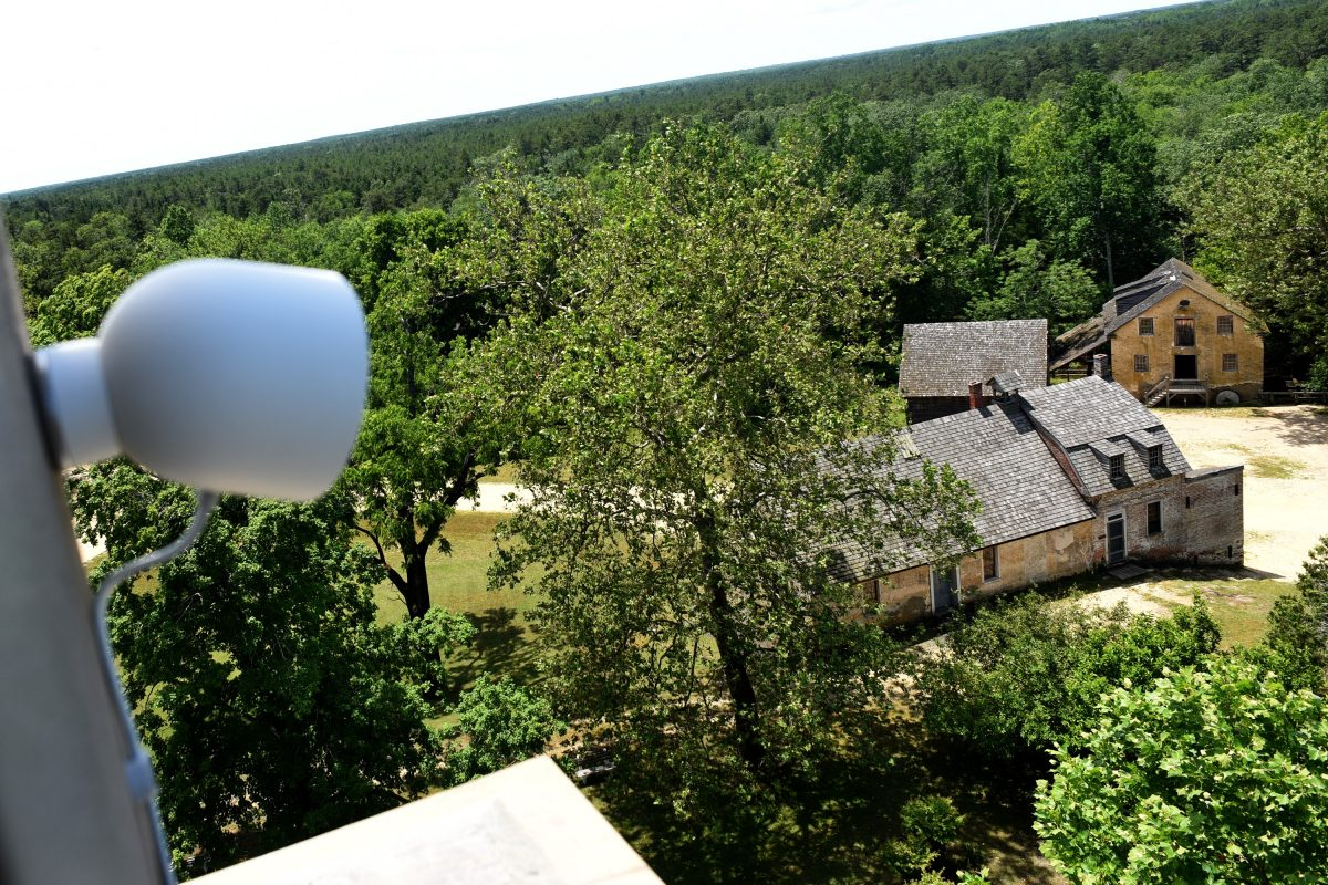 A new web-cam is installed in the tower (now closed to visitors) of the 32-room Batsto Mansion in historic Batsto Village, looking down on the post office,  general store and 1828 water-powered gristmill.