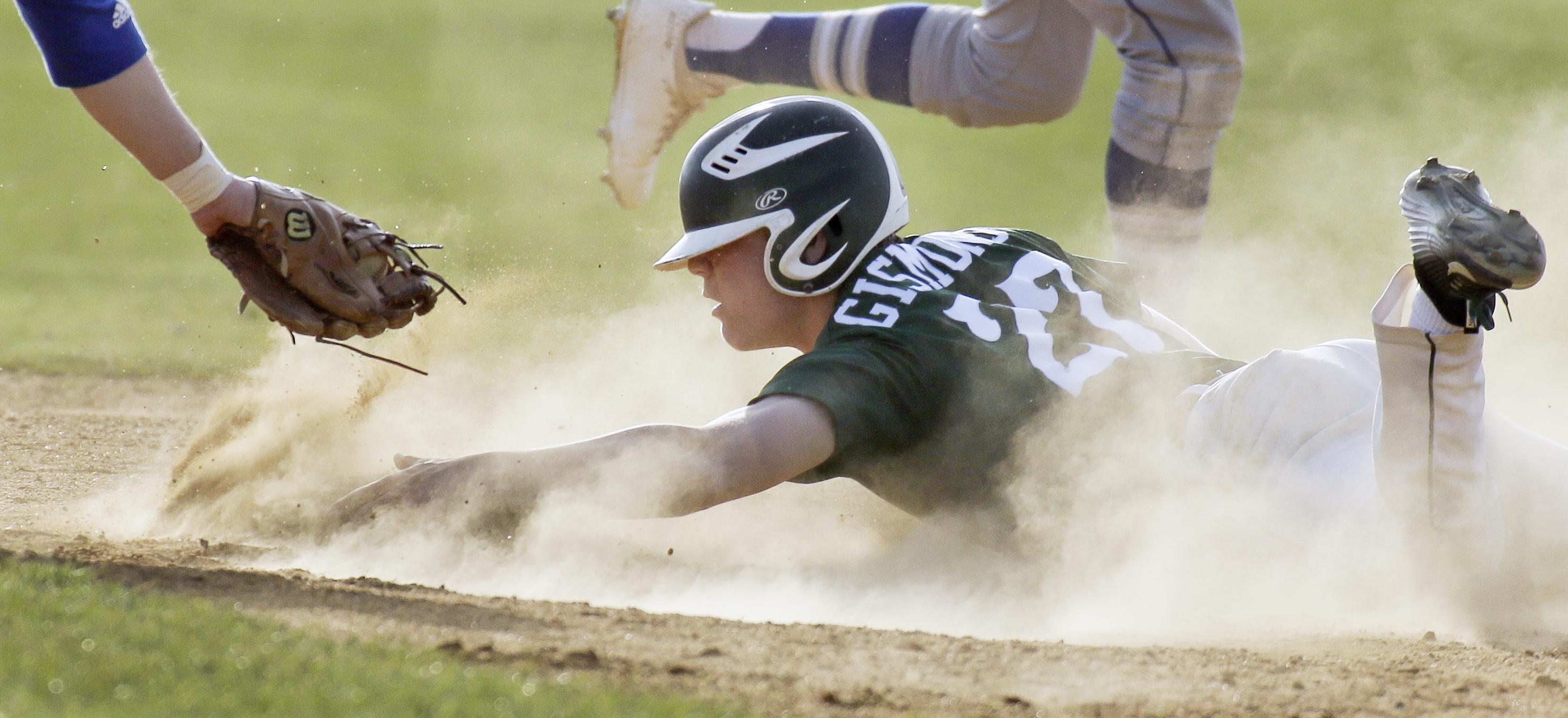 West Deptford´s Mike Gismondi steals second base vs. Sterling.