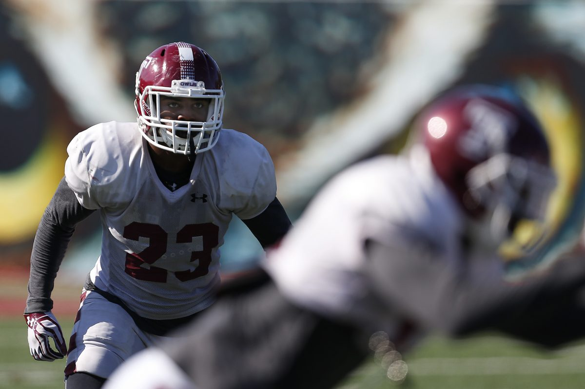 Temple safety Delvon Randall, pictured during practice back in October 2016, isn't expected to see many snaps in Saturday's spring game. Coach Geoff Collins said the focus will be more on how younger players have developed.