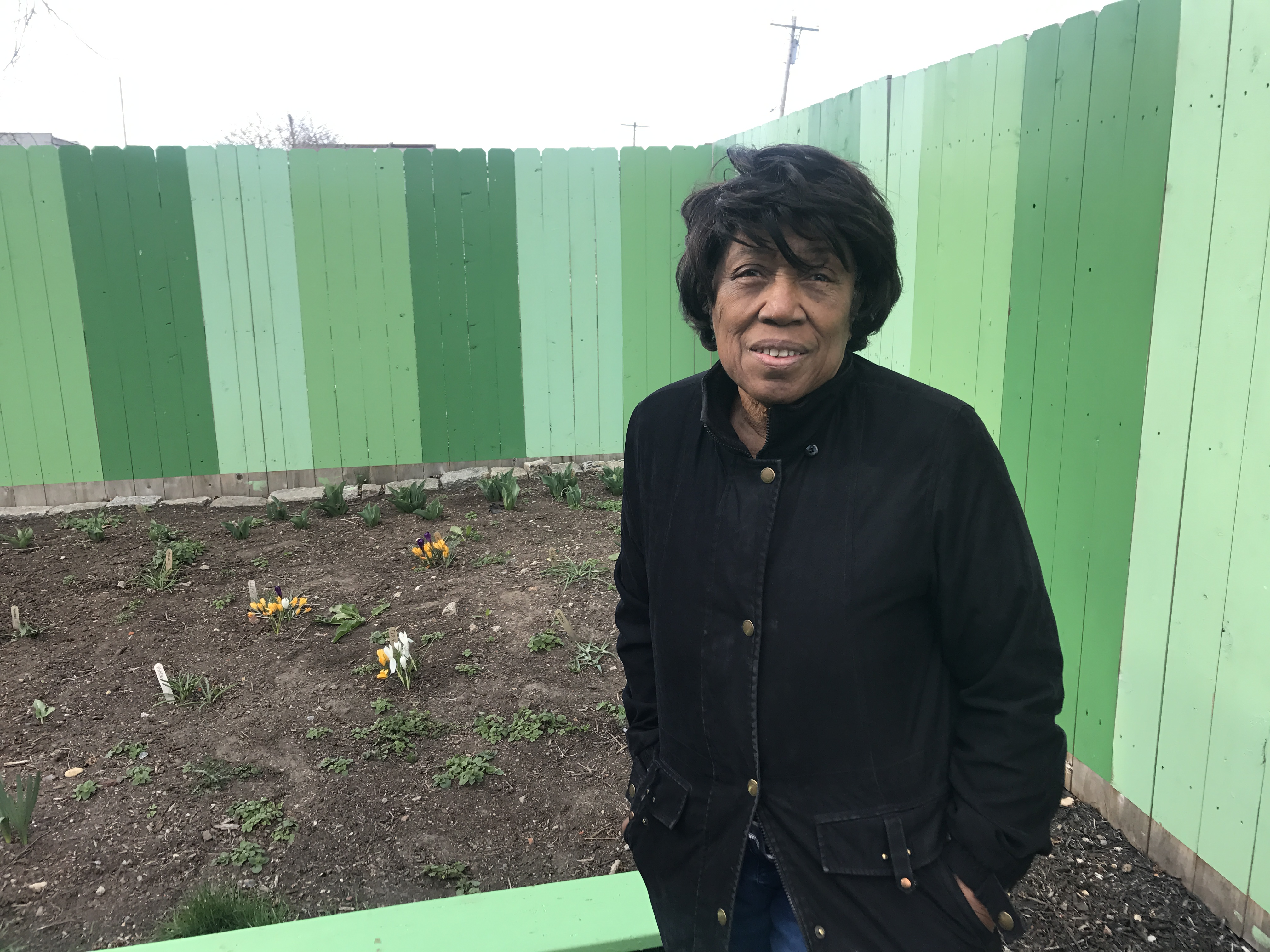 Elmira Smith in the community garden she and her neighbors created in Kensington. It is now threatened by an impending sheriff´s sale.