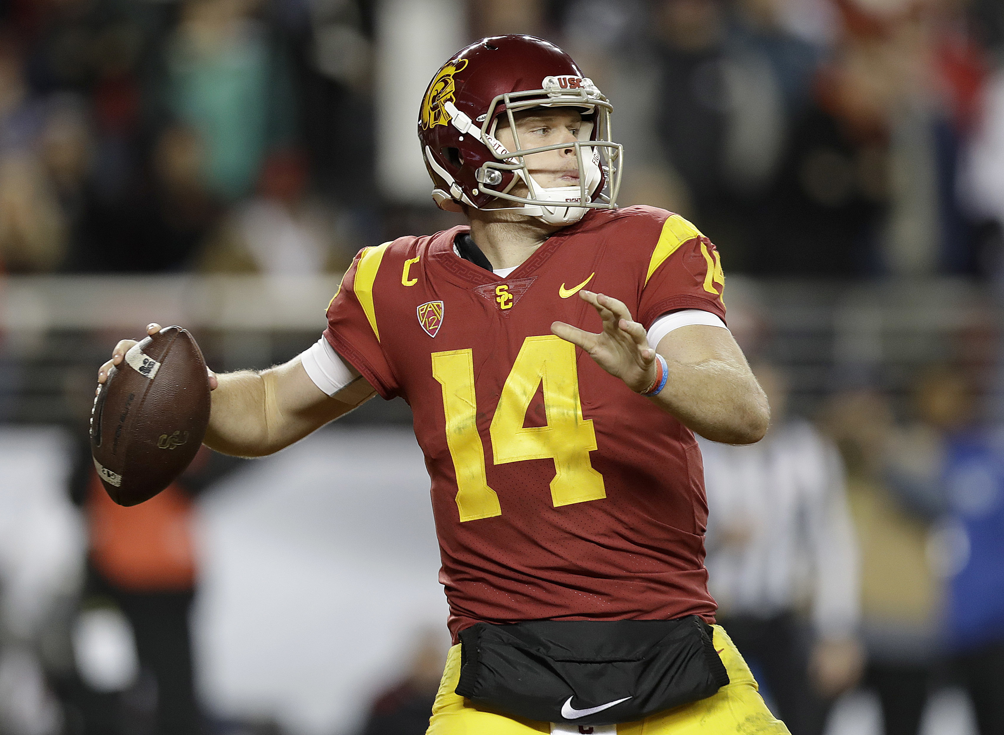 Sam Darnold passes during Southern Cal´s win over Stanford in the Pac-12 championship game in December 2017.