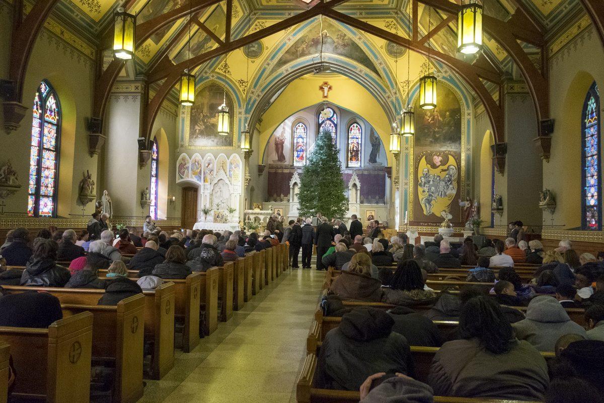 The interior of Sacred Heart Church in Camden.