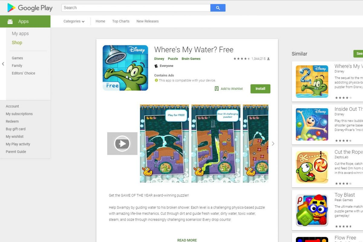"The ""Where's My Water?"" app on the Google Play store."