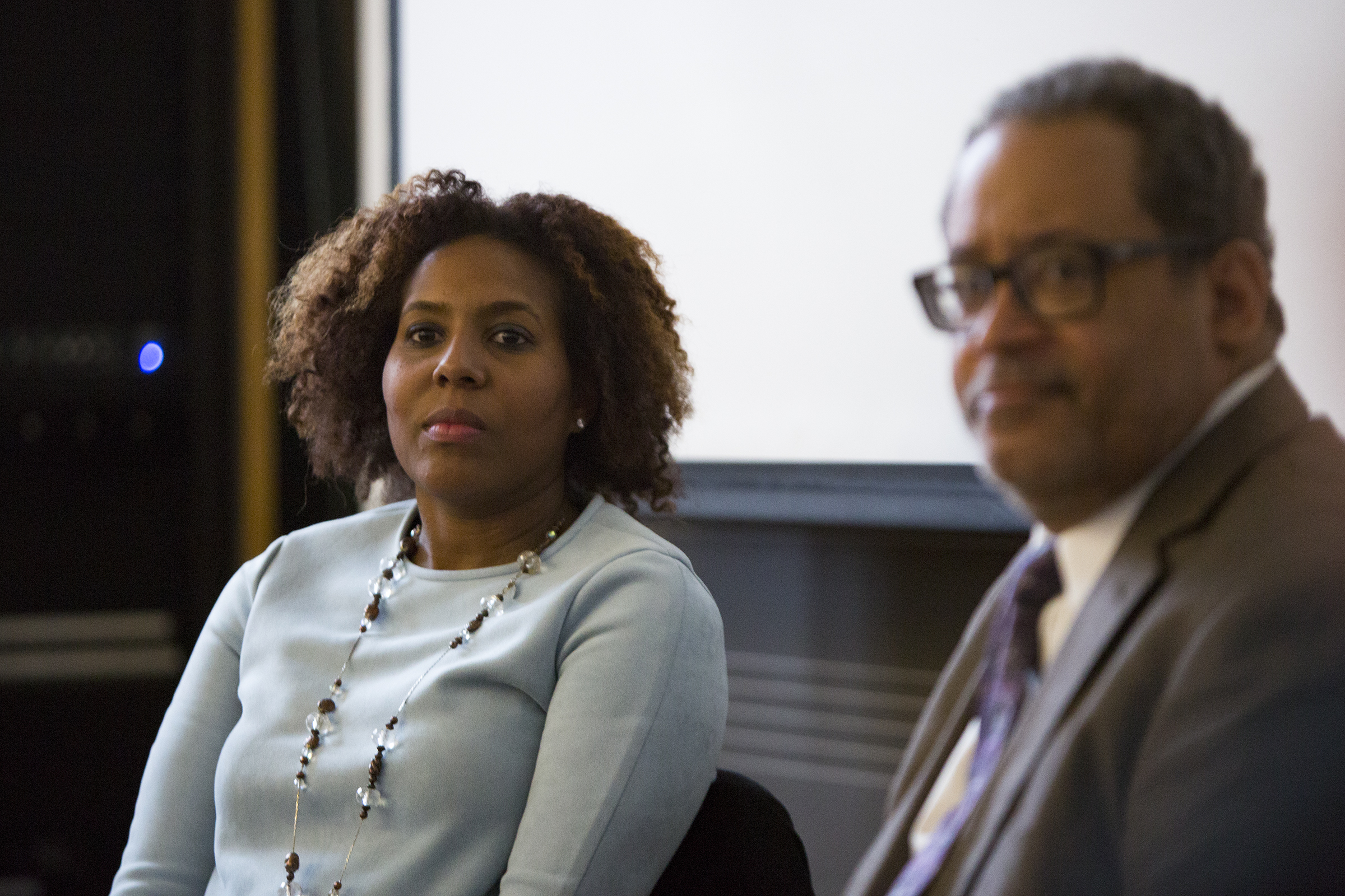 At UPenn´s Fisher-Bennett Hall Building, Professor Salamishah Tillet speaks to her Africana Studies class with Author Michael Eric Dyson. Her class is focused on Beyonce, Jay-Z, Solange, and the meaning of American music. April 3rd. James Blocker / Staff Photographer