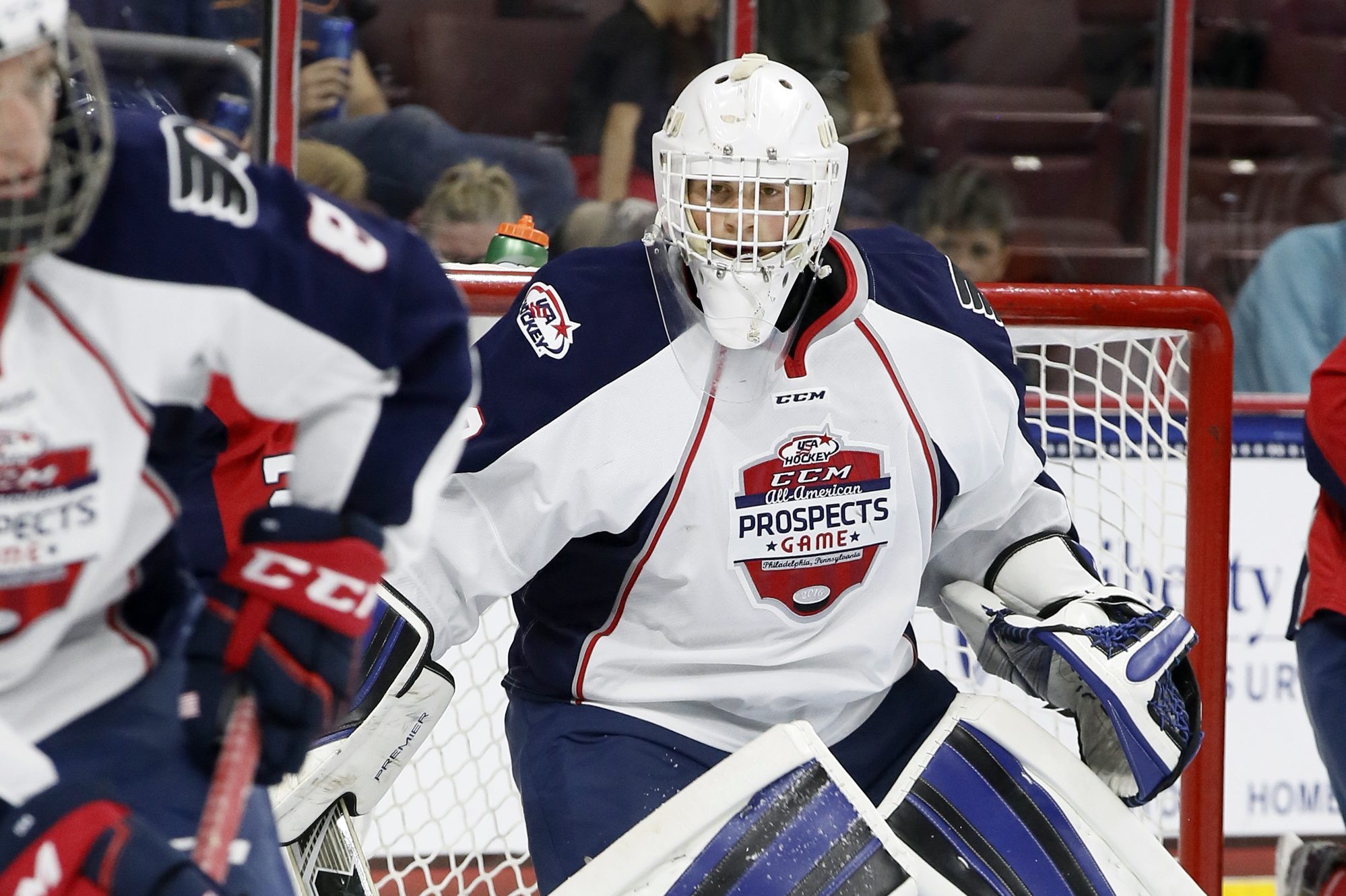 Team LeClair goalie Cayden Primeau watches teammates clear the puck during the 2016 CCM/USA Hockey All-American Prospects Game at the Wells Fargo Center in Phila., Pa. on Sept. 22, 2016. ELIZABETH ROBERTSON / Staff Photographer