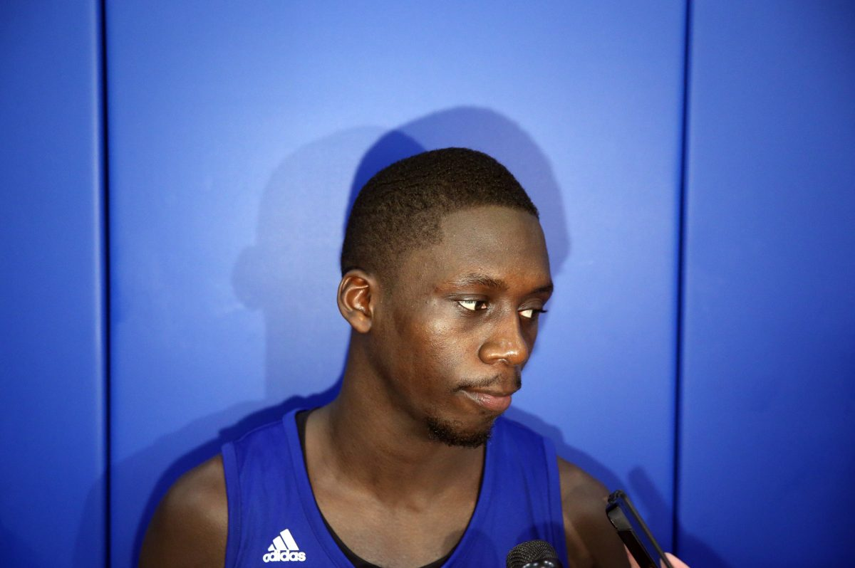 Philadelphia native Brandon Austin talks with reporters after a workout with the Sixers last year.  DAVID MAIALETTI / Staff Photographer