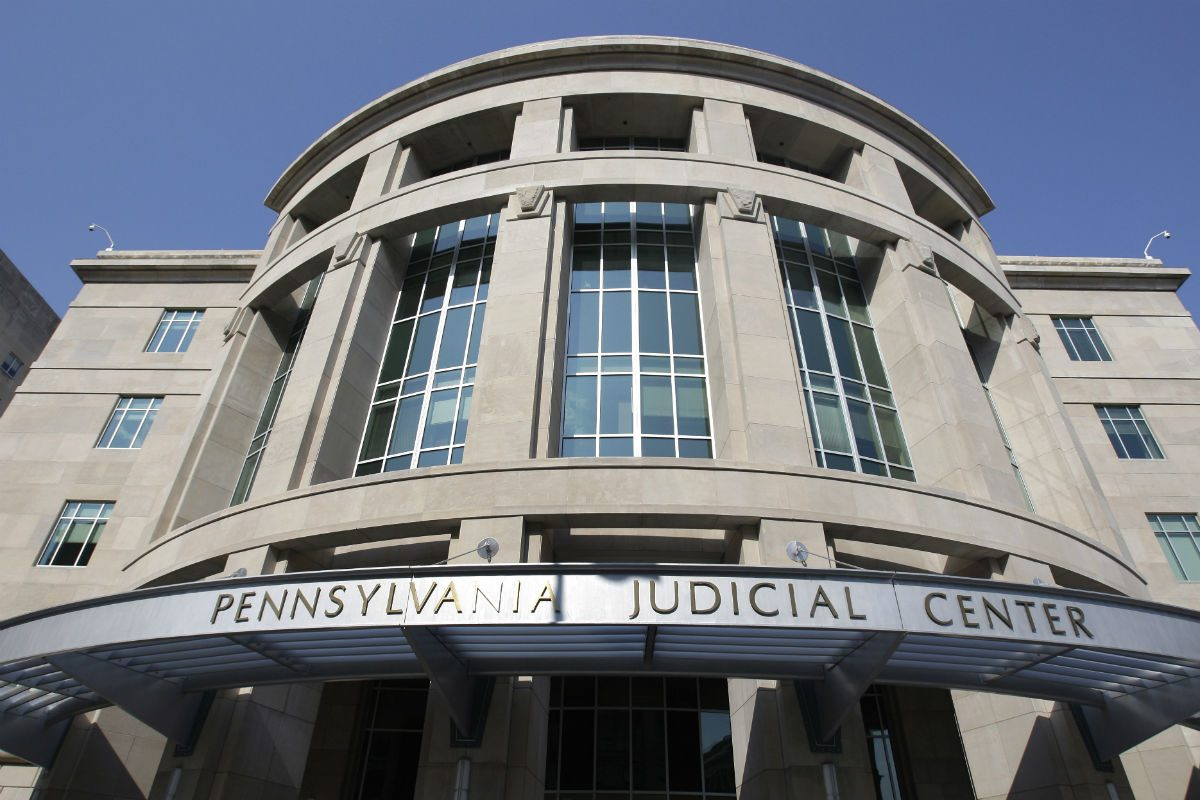 In this photo taken Monday, July 27, 2009, the Pennsylvania Judicial Center is seen at the Capitol complex in Harrisburg, Pa.