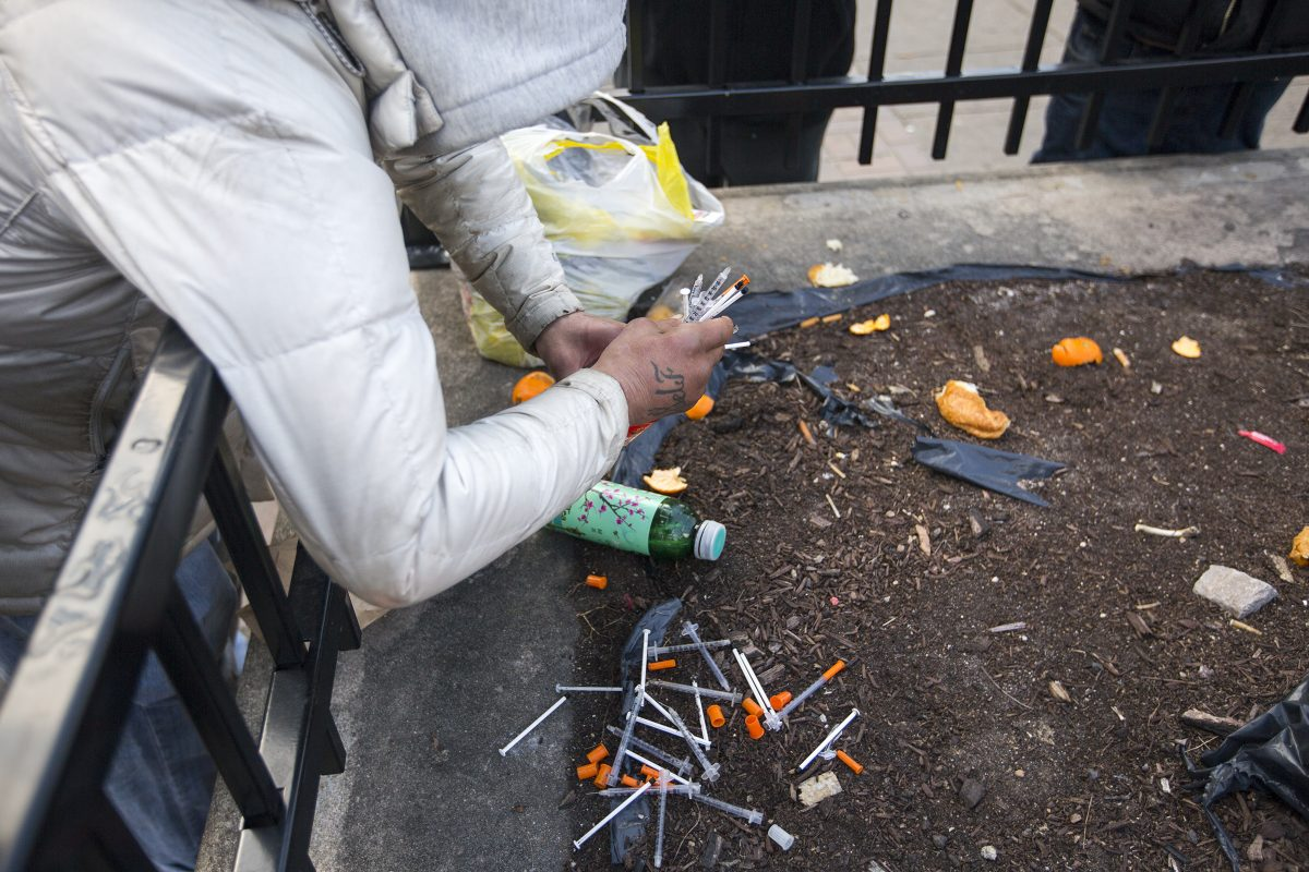 Peter LaRosa showing the needles he collects on the ground in Camden in order to exchange them for new ones in Philadelphia.