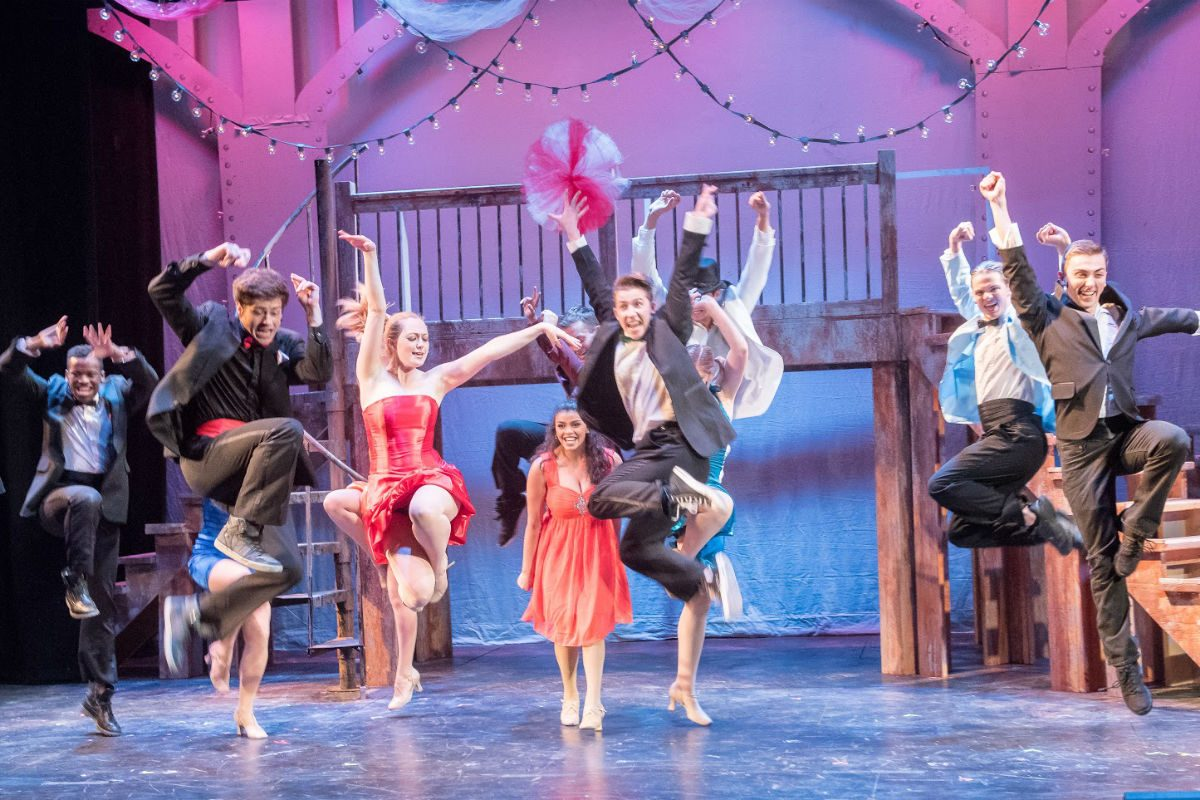 """The cast of the Surflight Theatre's production of """"Footloose"""" in a dance scene."""