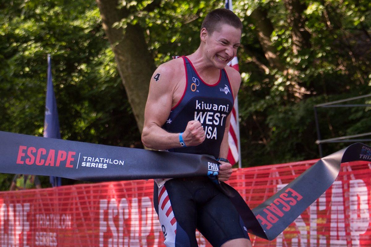 Jason West, 24, of Quakertown wins the Philadelphia Escape Triathlon in Fairmount Park.