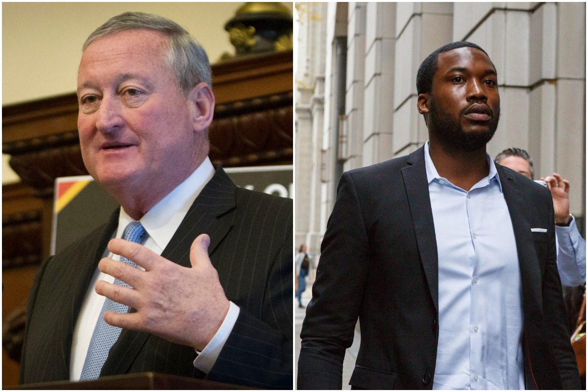 """Mayor Kenney, left, visited Meek Mill at State Correctional Institute Chester on April 11, 2018, according to his office. He said Mill """"would better serve the community outside of prison."""""""