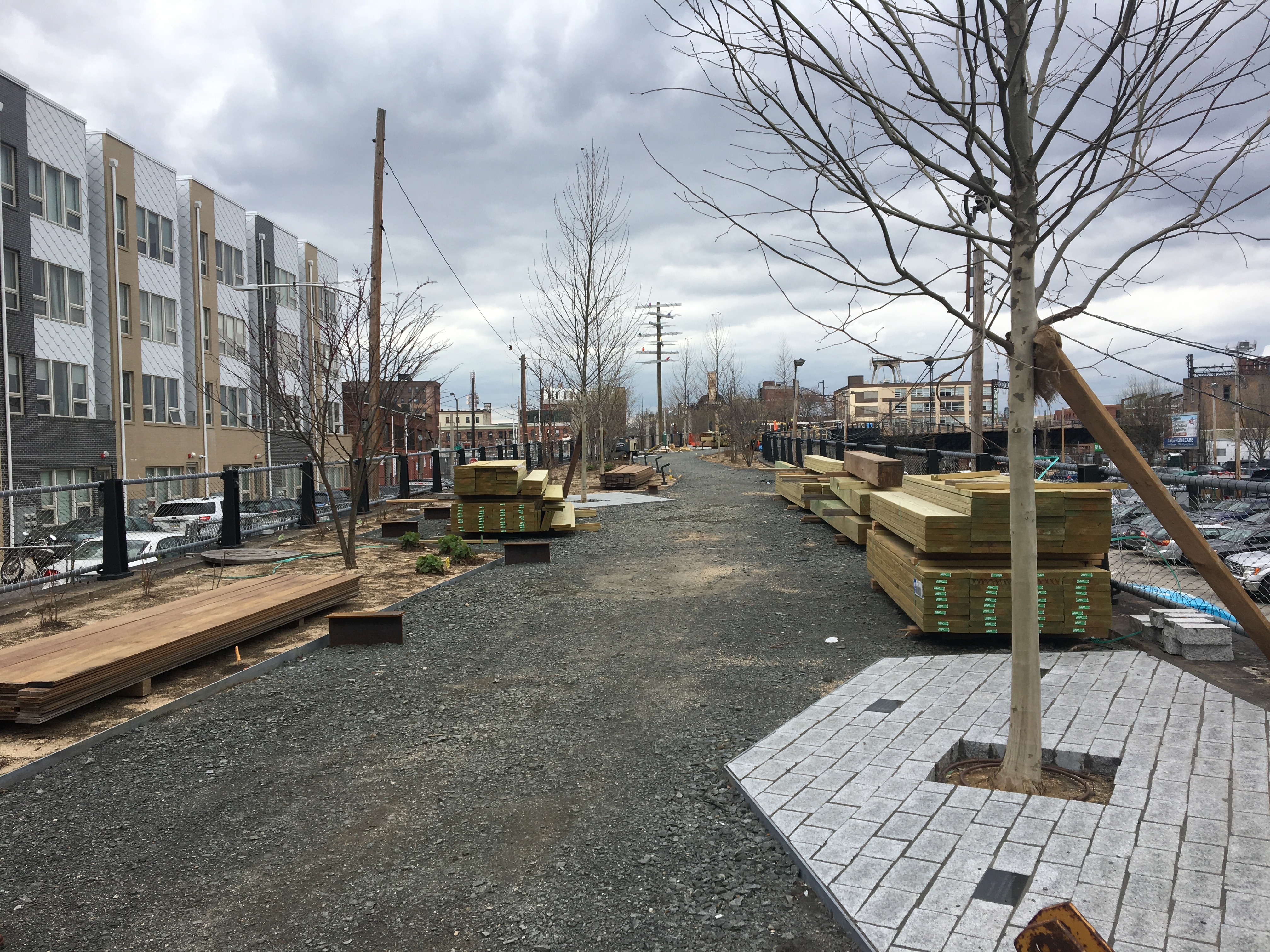 The first section of the Rail Park, the former spur from Broad Street to the old Reading Viaduct, is nearing completion and will open in June.
