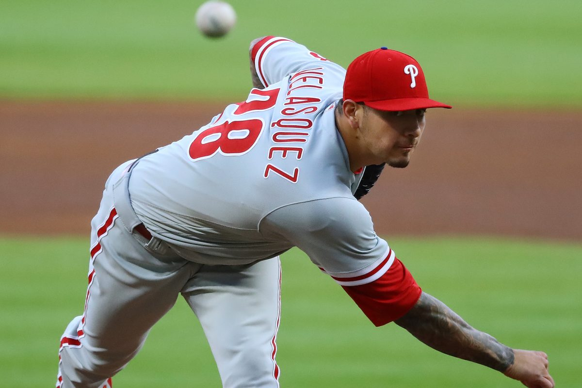 Phillies pitcher Vince Velasquez delivers during the Phillies' loss to the Braves on April 18.