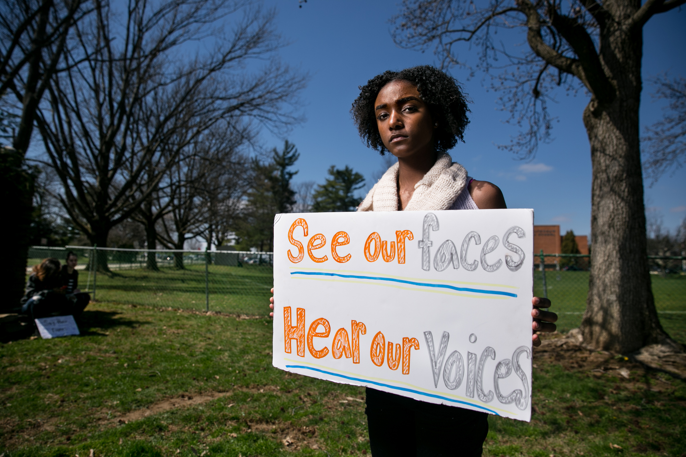 Eryn Banton, a lead organize of students concerned about gun violence, shown here in front of Cheltenham High School, Wednesday, April 18, 2018. JESSICA GRIFFIN / Staff Photographer.