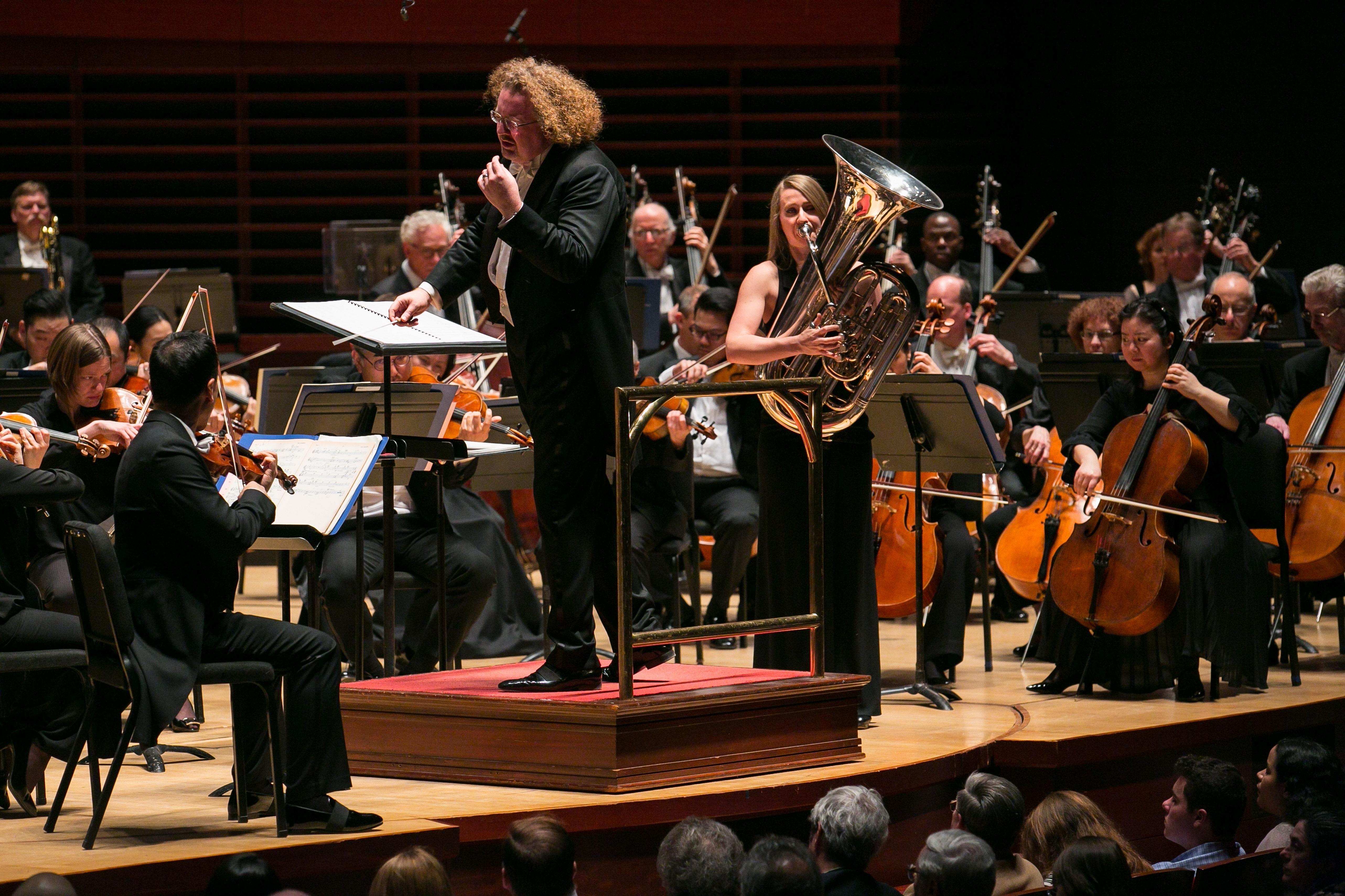 "Philadelphia Orchestra principal guest conductor Stéphane Denève and principal tuba player Carol Jantsch perform John Williams ""Tuba Concerto"" with the orchestra."