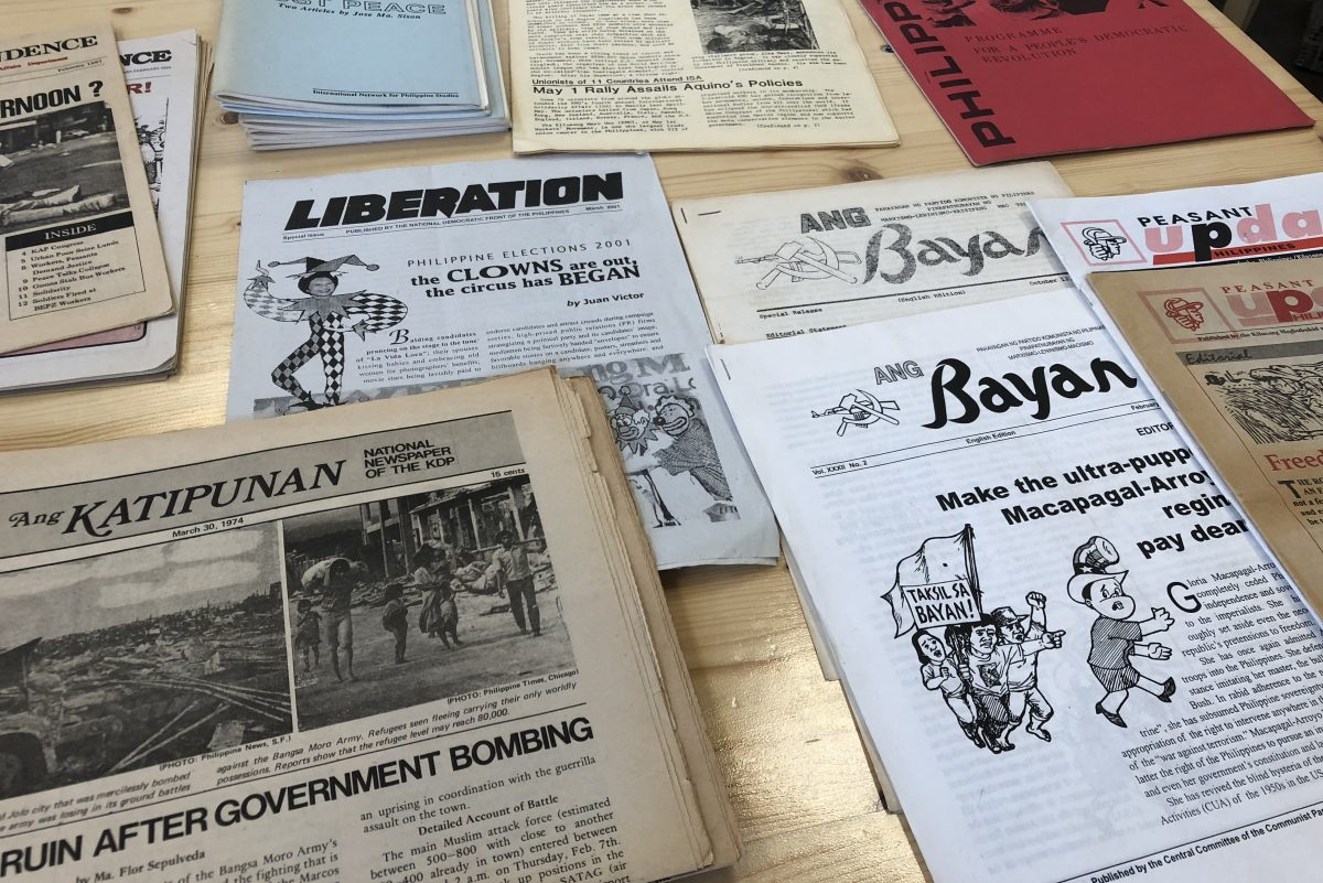 A collection of Filipino mosquito press issues, on loan from The R.F. Kampfer Revolutionary Literature Archive, that the Hardworking Goodlooking team is using for their project.