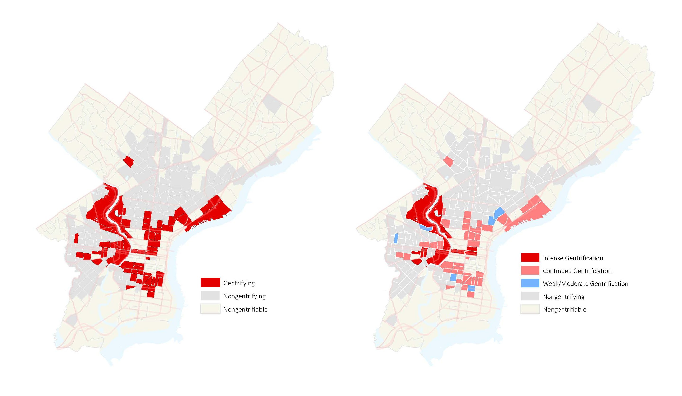 A map from the Reinvestment Fund study shows which Philadelphia neighborhoods are gentrifying.