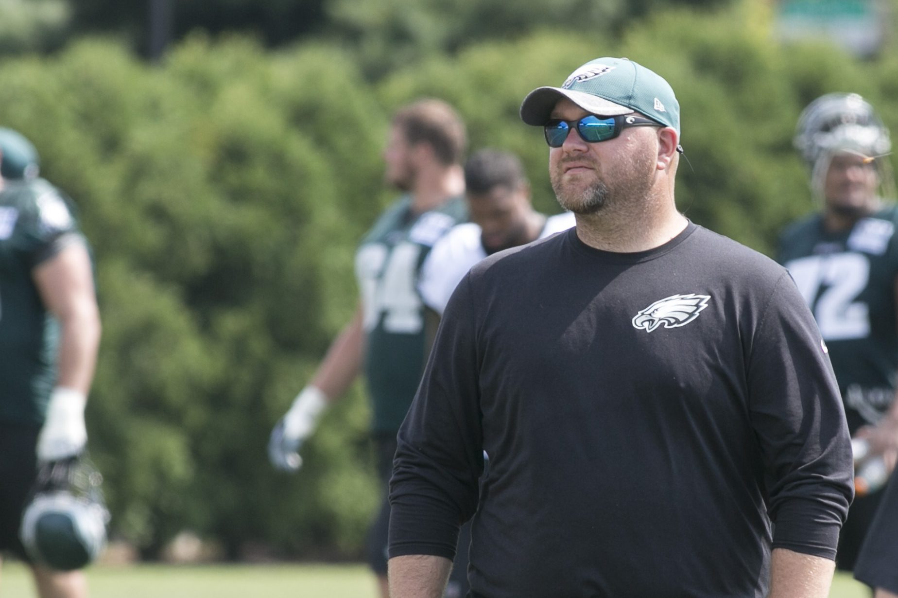 Joe Douglas, front right, at Eagles practice at the NovaCare Complex in August.