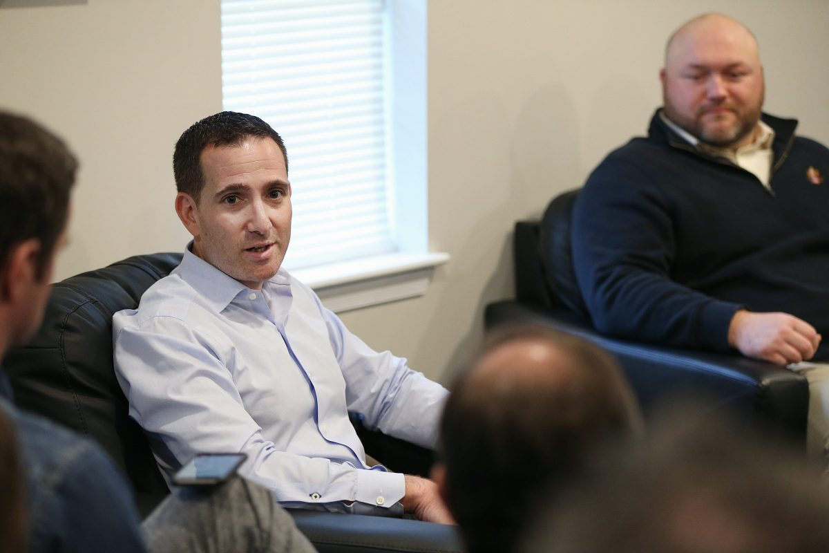 Eagles executive vice president of football operations Howie Roseman, left, and vice president of player personnel Joe Douglas talk to reporters at the NovaCare Complex in South Philadelphia on Thursday.