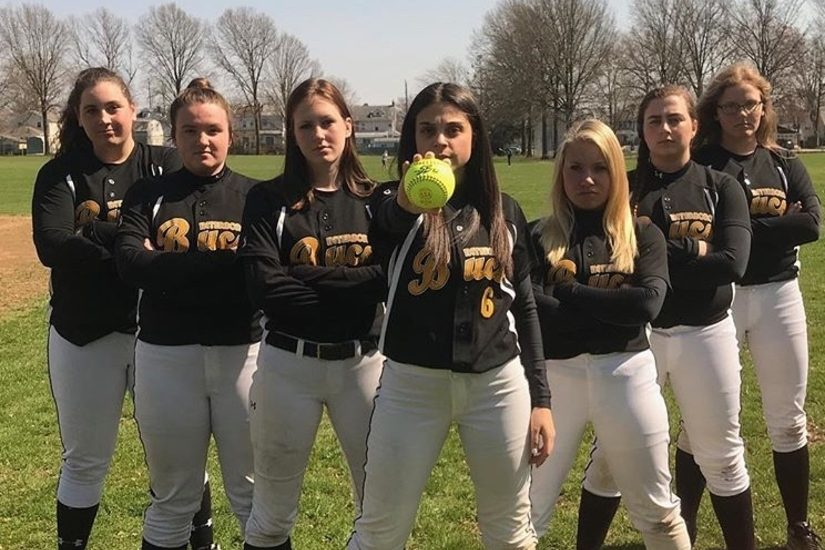Interboro pitcher Bridget Bailey (back left) recorded her 300th career strikeout on Thursday.