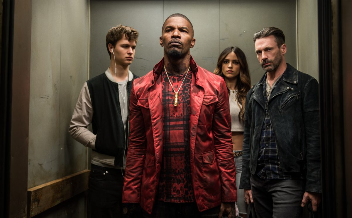 """""""BABY DRIVER"""": Jamie Foxx is Bats (front), with (rear, from left) Ansel Elgort as Baby, Eiza Gonzalez as Darling, and Jon Hamm as Buddy. (Photo: Wilson Webb / Sony Pictures)"""