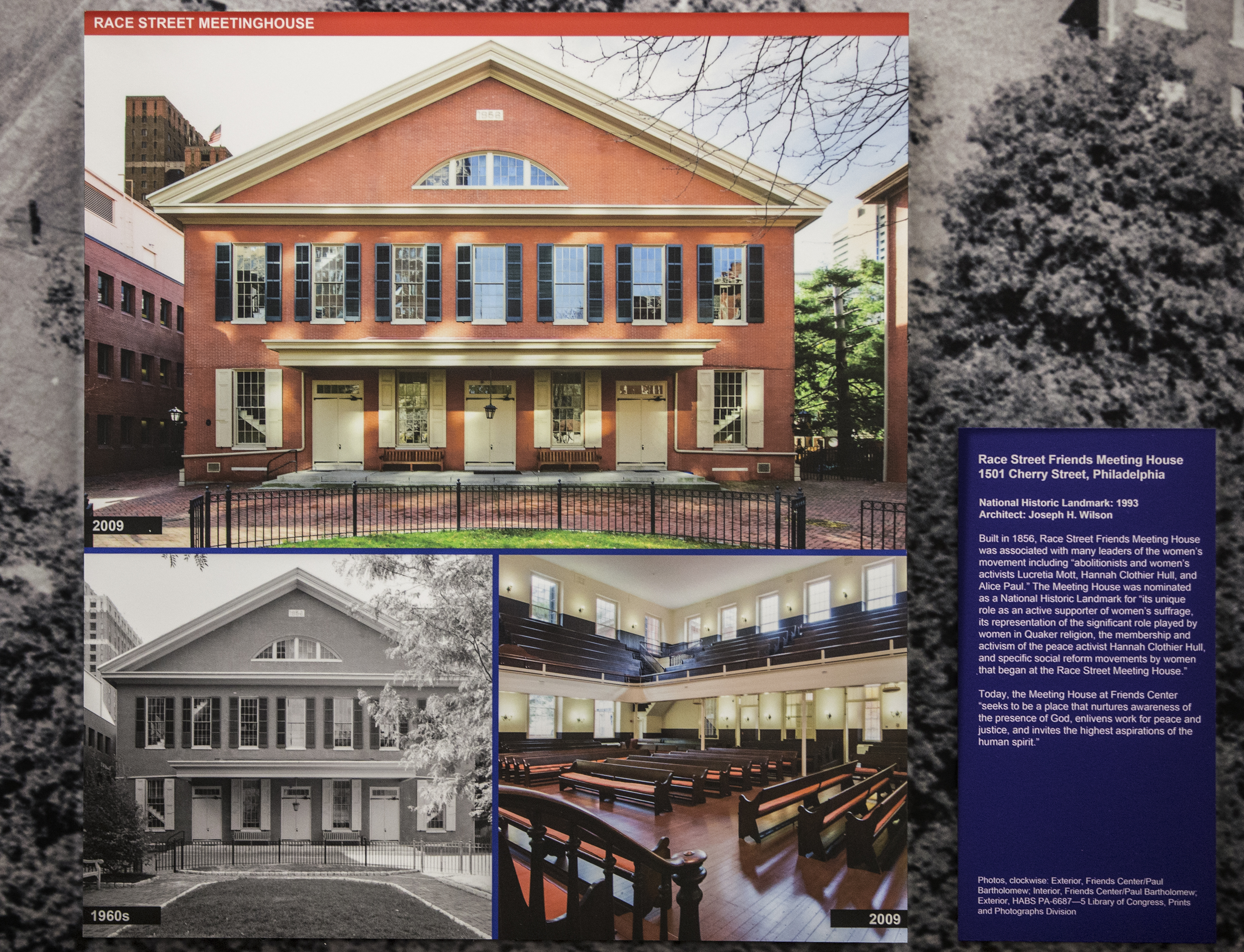 Detail of the exhibit that features the Race Street Friends Meeting House.