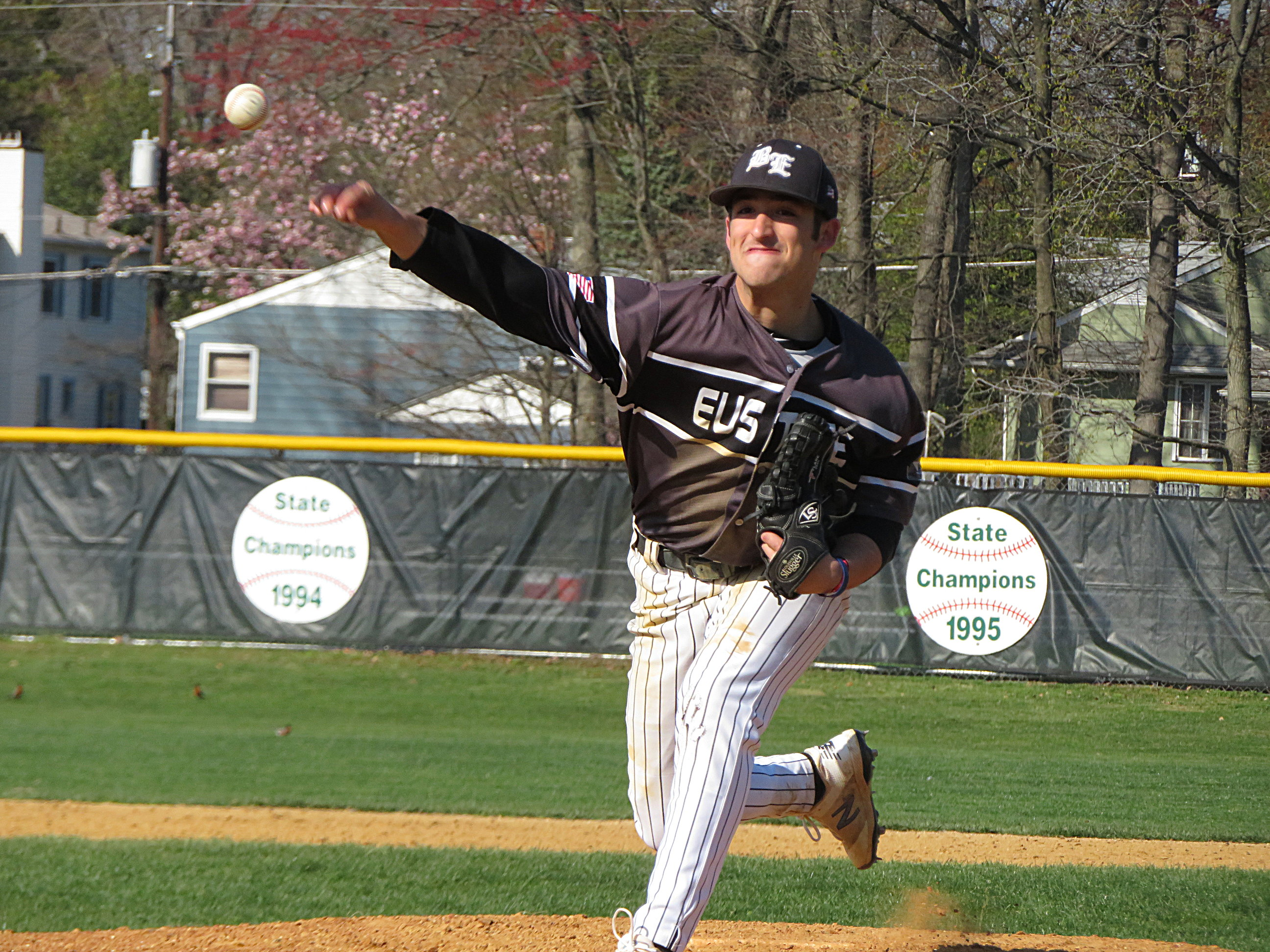 Senior Sky Duff made his pitching debut last year as a reliever but the senior is now a key starter for Bishop Eustace.