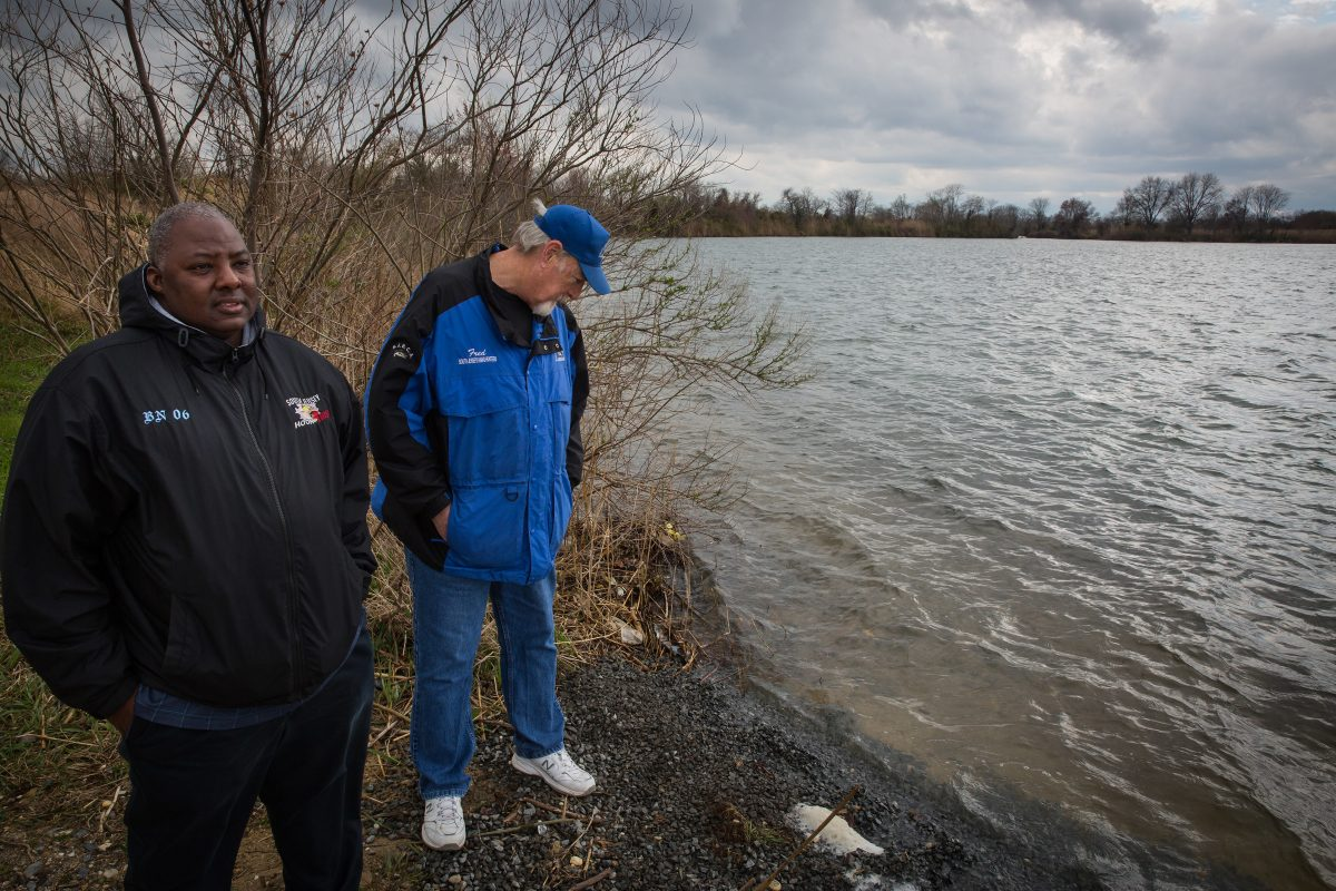 Avid anglers Rashawn Lewis, front left, and Fred Lentz, second from left, at the popular fishing spot known as DOD Ponds in Salem County, NJ. The secluded area is a popular fishing spot — and recently, gathering place for illegal drug users.