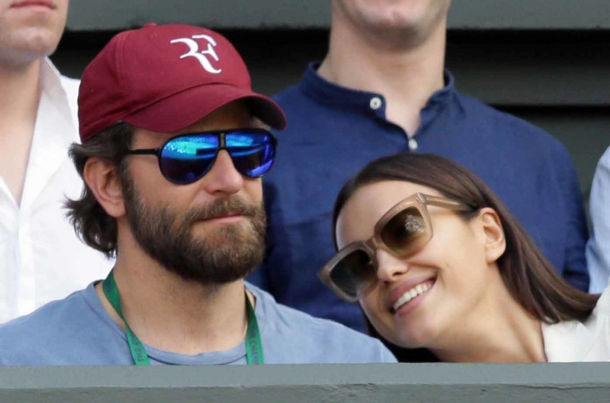 "Actor Bradley Cooper with girlfriend Irina Shayk at Wimbledon in London in 2016. Cooper was back across the pond to films scenes for ""A Star is Born"" at Glastonbury over the weekend."