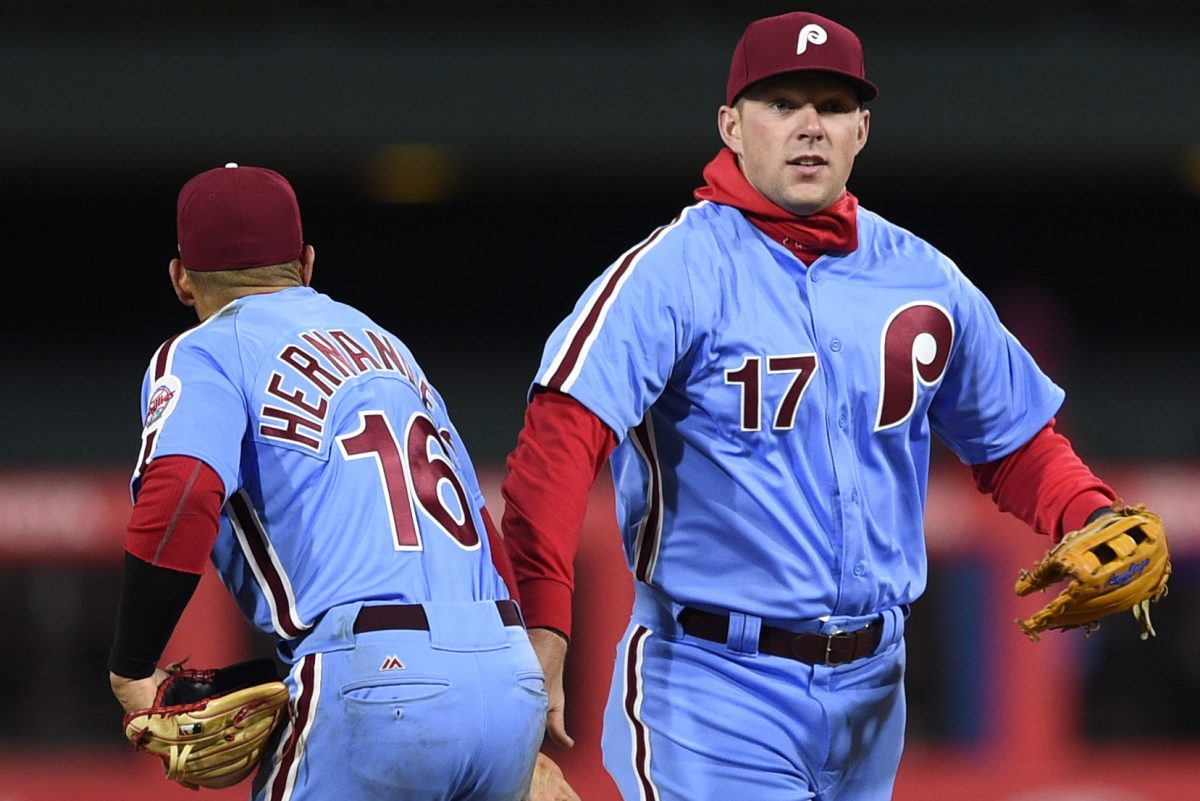 Phillies slugger Rhys Hoskins and infielder Cesar Hernandez have both shown a tendency to produce in two-strike counts this season.